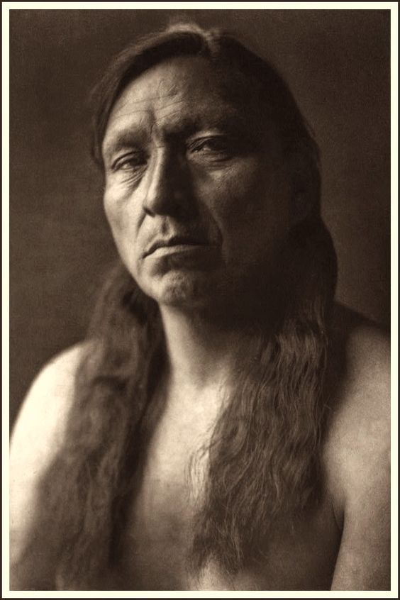 Arikara Man, Four Horns. Photographed by Edward S. Curtis 1908.: