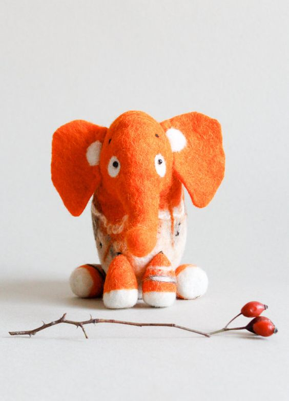 Gisela  Felt Elephant Art Toy. Puppet Marionette. by TwoSadDonkeys