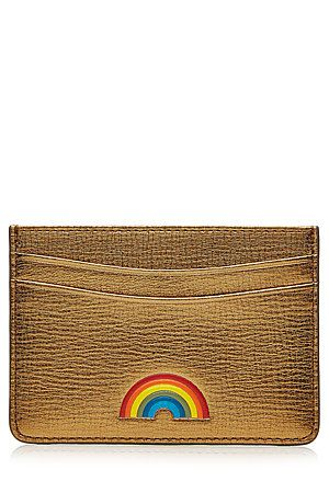 A+fun+'70s-inspired+rainbow+motif+brightens+up+this+sleek+leather+card+holder+from+Anya+Hindmarch+#Stylebop
