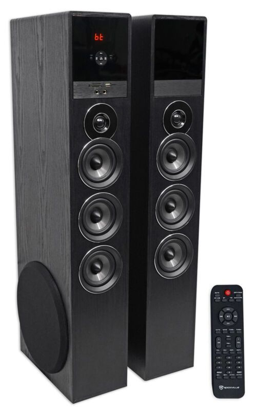 229 95 42 Off Was 399 00 Rockville Tm150b Black Home Theater System Tower Speakers 10 Tower Speakers Home Theater System Home Theater Tower Speakers