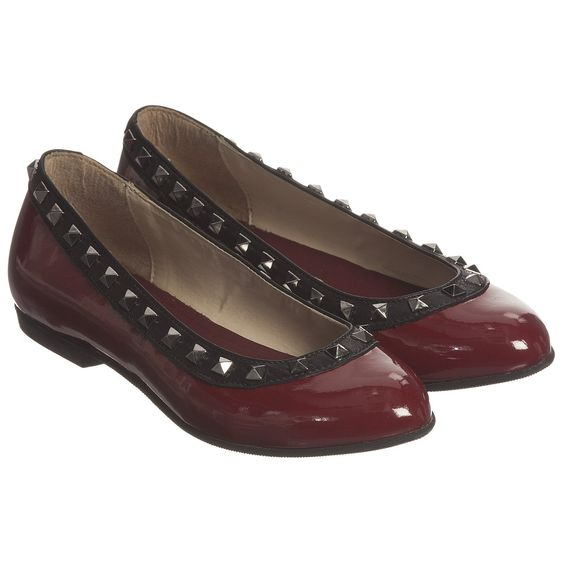 Step2wo - Girls Burgundy Red & Black Patent Leather 'Piazza' Shoes…