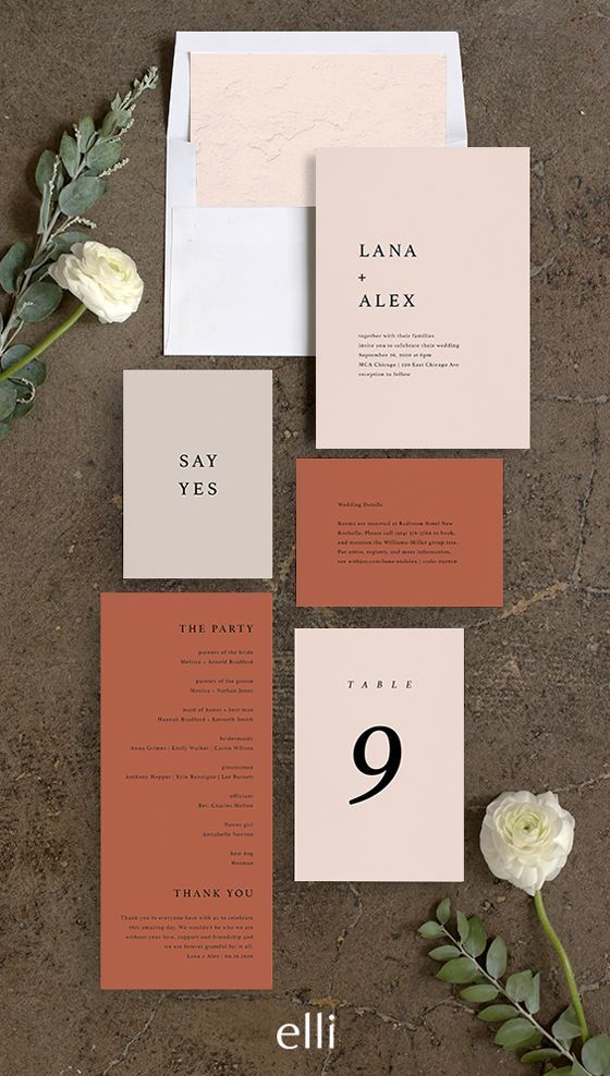 Modern Wedding Invitation Suite In Terracotta Weddinginvitations Weddi Modern Wedding Invitation Suite Modern Wedding Invitations Simple Wedding Invitations