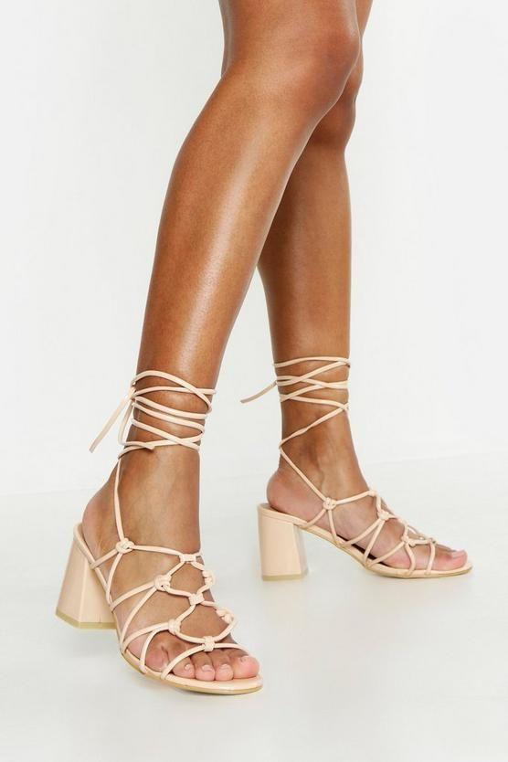 Caged Wrap Strap Low Block Heels