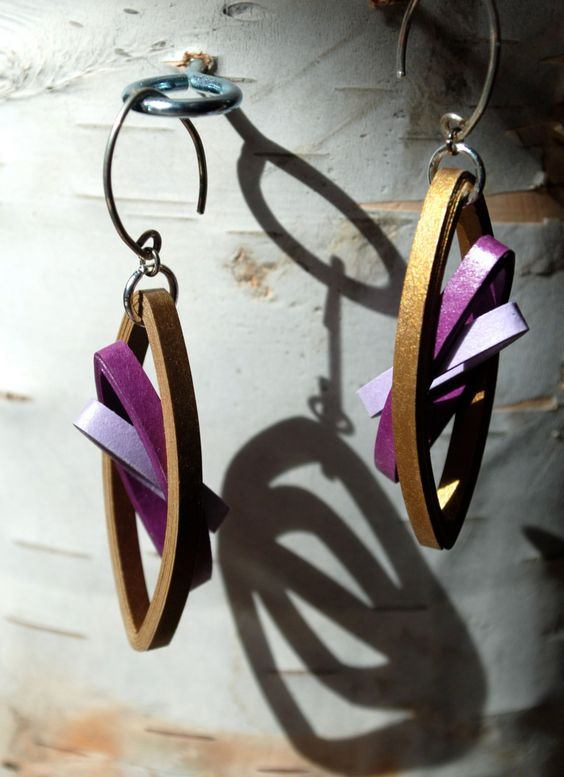Modern Paper Earrings / Lightweight Earrings / Paper Jewelry / Eco Friendly Jewelry / 1st Anniversary Gift - Sydney (22.00 USD) by RogueTheoryPULP