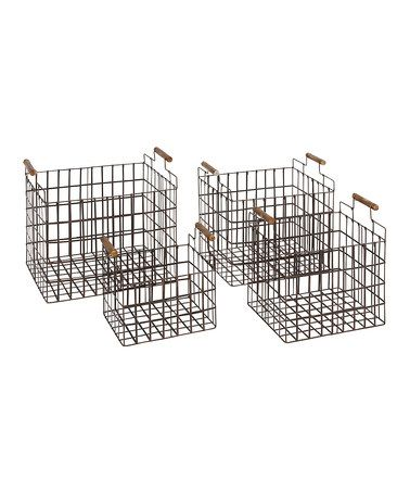 Another great find on #zulily! Rectangular Metal Storage Basket Set #zulilyfinds
