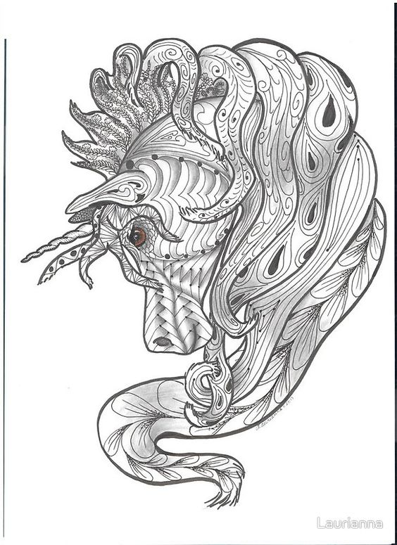Zentangle Unicorn Colouring pages