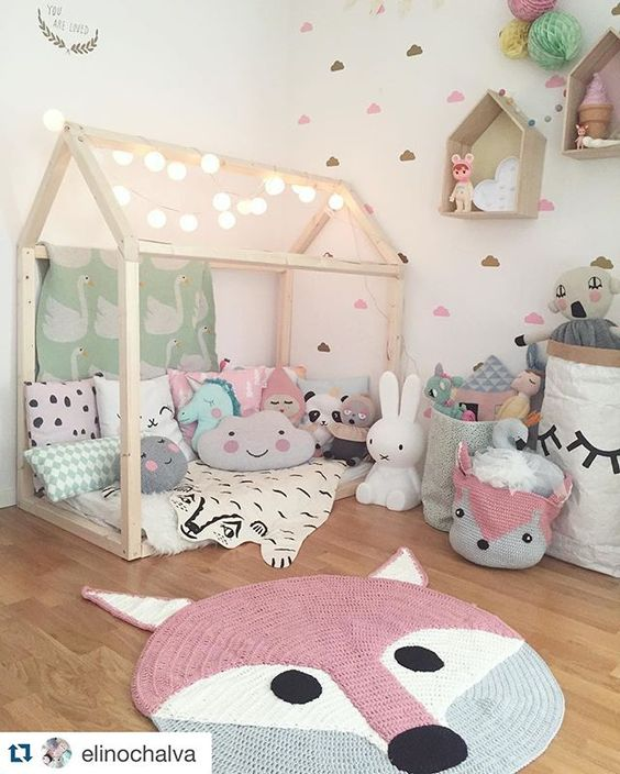 Wow what a gorgeous little girls bedroom!! @elinochalva #fox #playmat #mooibaby: