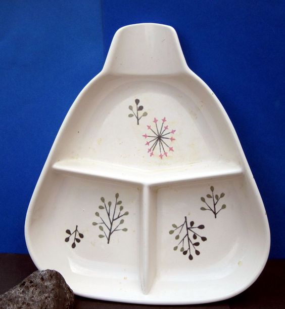 Vintage 3 Compartment Serving Dish Franciscan China Atomic ECHO Starburst 1950s