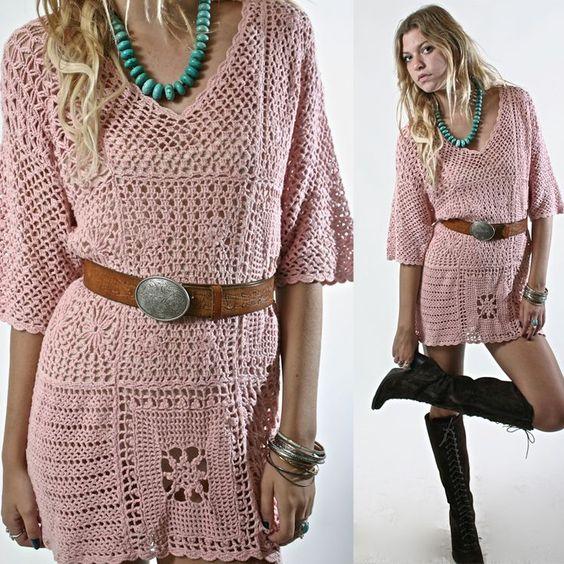 Chorrilho de ideias: vestido curto cor de rosa em crochet
