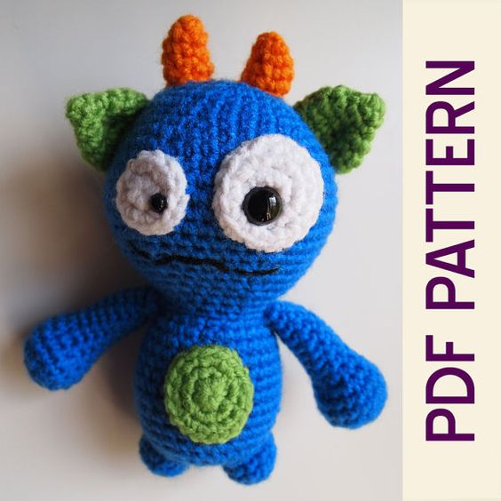 Amigurumi Monster Patterns : Amigurumi Crochet Silly Monster Buddy Toy PDF Pattern ...