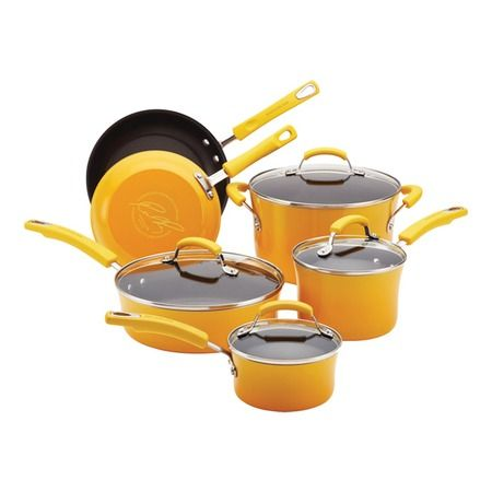 I pinned this 10 Piece Enamel Cookware Set in Yellow from the Rachael Ray event at Joss and Main! @Gretchen Speer...Rachael Ray has yellow, too.