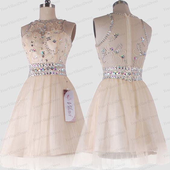 Need to customize A-line Round Brought Short Tulle Crystal Semi Transparent Sweet 16 Graduation Homecoming Prom Cocktail Dress 352SOD14624