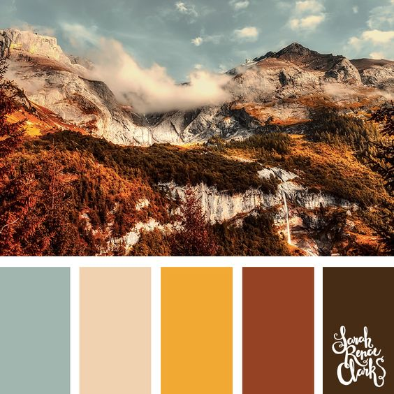 Beautiful mountainside autumn color scheme | Click for more fall color combinations, mood boards and seasonal color palettes at http://sarahrenaeclark.com