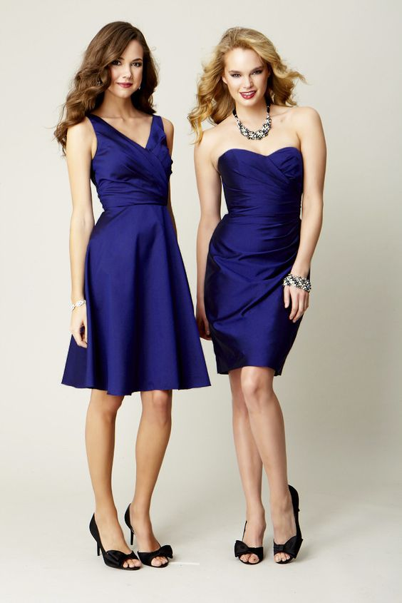 Sapphire blue bridesmaid dresses strapless and with straps