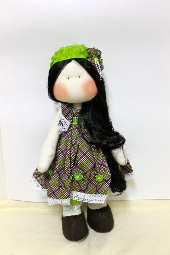 cloth doll  fabric Doll  Handmade doll  by SweetBellaLuna on Etsy