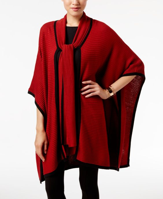 August Silk Tie-Neck Poncho Cardigan