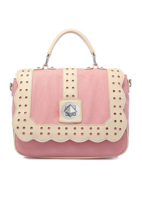 Laws of Attraction Scallop Edge Handbag in Pink/Cream  $62.99