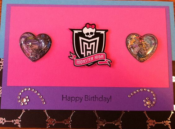 Had to make up a Monster High birthday card for my daughter's birthday since I've yet to find one in stores. Used MH stickers sold in stores and Stampin' Up cardstock to make.