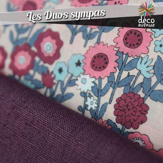 Nouveaux tissus FROUFROU Un tissu fleuri, avec des tons rose bleu mauve Deco avenue- Les sorinières