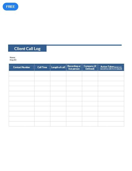 Free Client Call Log Templates Notes Template Downloadable