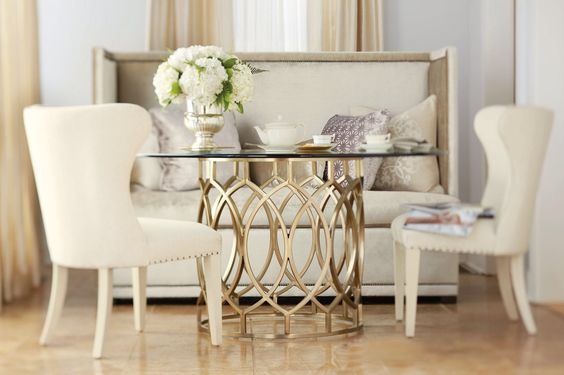 Beautiful dining table with glass top - Bernhardt furniture