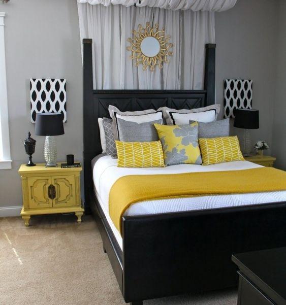 blanco negro amarillo mostaza paleta de colores dormitorio