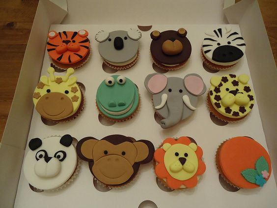 Fondant Jungle Animal Cupcake Toppers By Fondant Cakes