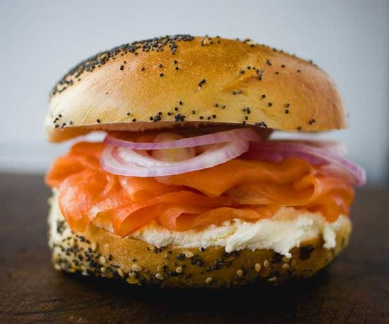 Russ and Daughters Deli- A New York Institution-179 E Houston St  (between East Houston St & 2nd Ave)   New York, NY 10002, Lower East Side, Norwegian smoked salmon on a plain bagel with caviar cream cheese, Best Bagel and Lox in the city, Smoked fish and Caviar