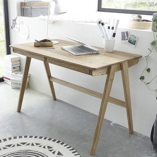 Heligan Wooden Computer Desk In Knotty Oak With 2 Drawers Furniture In Fashion Wooden Computer Desks Small Room Desk Solid Wood Desk