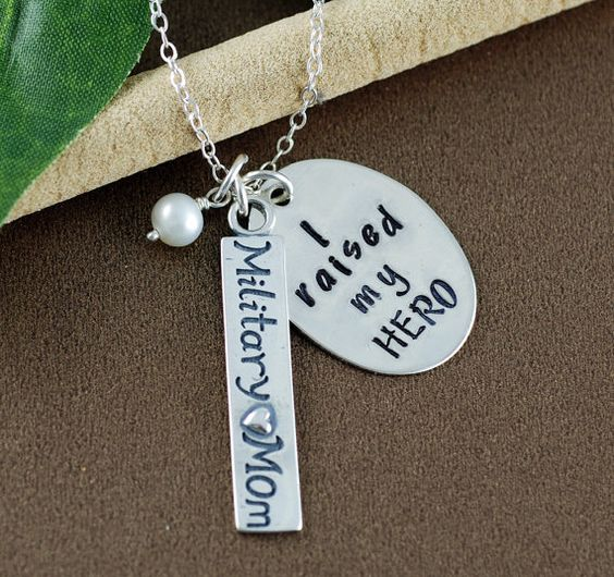 I Raised my HERO Necklace, Hand Stamped Necklace, Personalized Military Mom Jewelry, Gift for Military Mom, Military Mom Gift, My Hero
