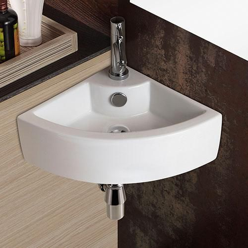 Waino Vitreous China Corner Wall Mount Bathroom Sink Wall Mounted Bathroom Sinks Sink Corner Sink Bathroom