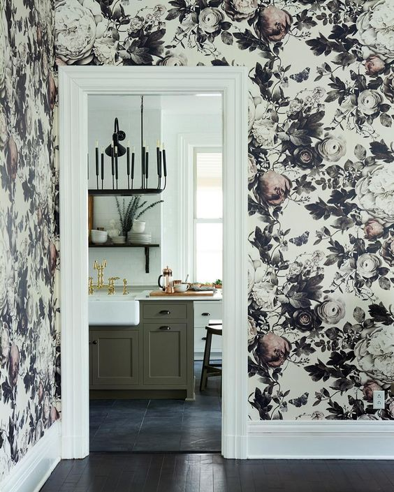 Hallway with black and white wallpaper to farmhouse style kitchen by #LeanneFord. #moderncountry