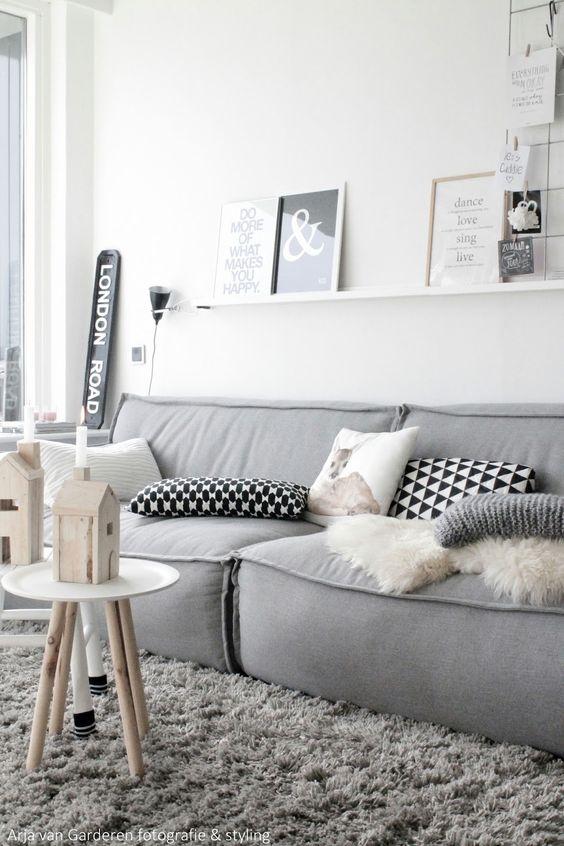 Sofá e decoração cinza - inspiração sala de estar: