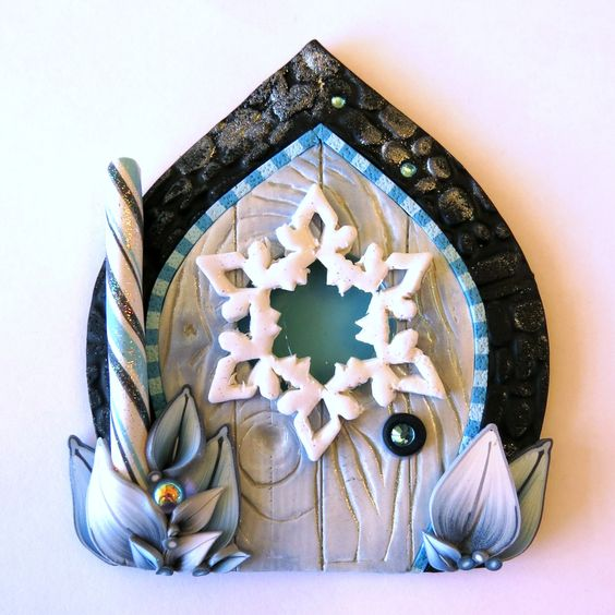 Snowflake window fairy door christmas pixie portal for Fairy door for wall