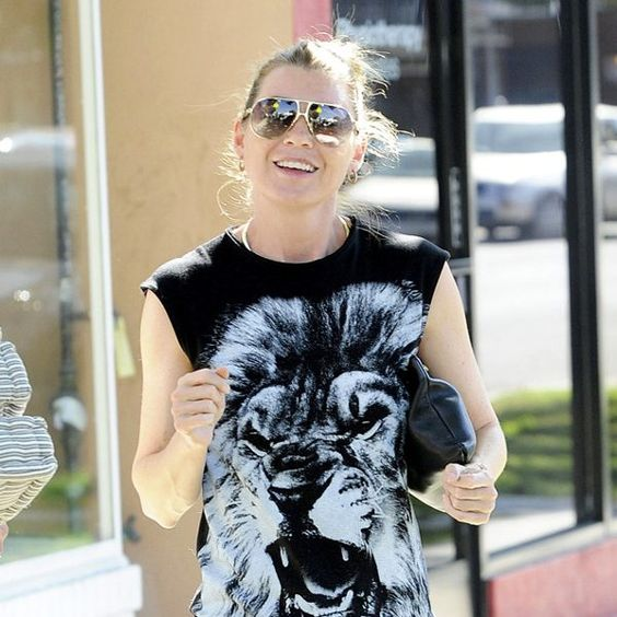 Ellen Pompeo made a major statement in futuristic aviators with flash lenses, not to mention a tiger-themed tank!: Eye Candy, Tiger Themed, Major Statement, Ellen Pompeo, Themed Tank, Futuristic Aviators, Celeb Eye, Photo