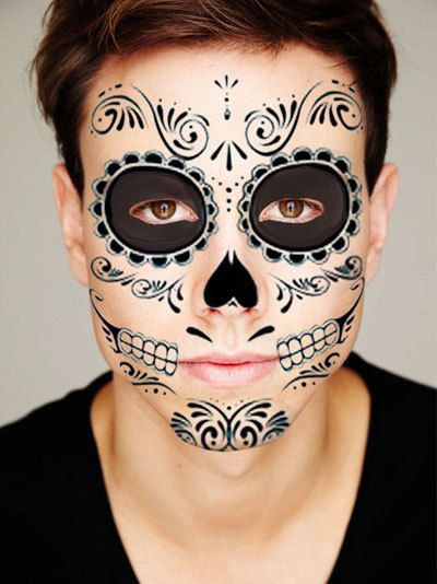 Sugar skull all black temporary tattoo for the face by for Face tattoo makeup