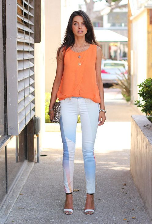 Orange top. White printed trousers ♥