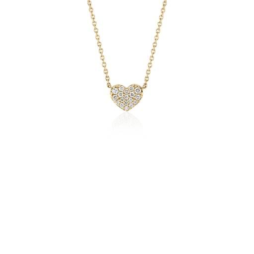 Mini Diamond Heart Necklace In 14k Yellow Gold 1 10 Ct Tw Diamond Heart Diamond