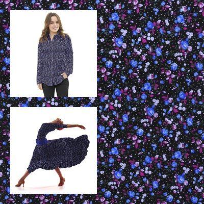 Tela popelín de algodón con estampado liberty con floreado azul y rosa sobre un fondo negro con un pequeño punteado blanco . Popelín flamenca cachemir, sostenido y de tacto muy suave, ideal para la confección de trajes de flamenca, vestidos, camisas y faldas. http://www.aleko.kingeshop.com/Popelin-Liberty-dbaaaakpa.asp