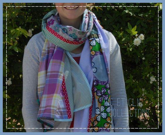 chèche foulard écharpe patchwork 6 couleurs de printemps !