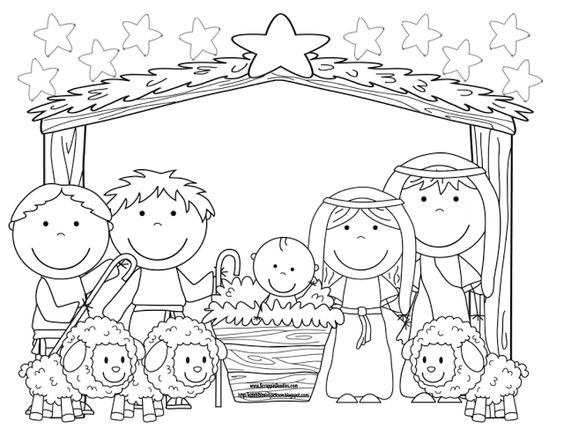 Nativity coloring page: