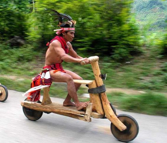 Unique solution to the transportation challenge, using organic material. The Wooden Bike.  The Igorot indigenous people of Baguio City in The Philippines have a knack for creativity. Their wooden bikes are displayed with regal paraphernalia during a local festival where every villager comes out donned in the traditional attire.