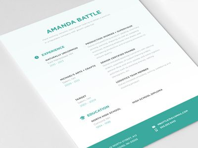 Another simple look, but I like the unique centre justified - creative resume headers