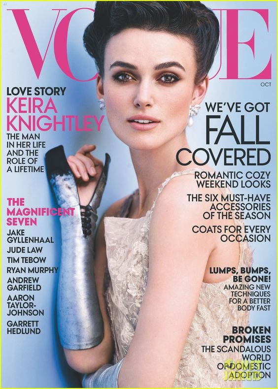 Keira Knigthley Covers 'Vogue' October 2012: Knightley Cover, Magazine Covers, Keira Knightley, Vogue Magazine, Vogue Cover