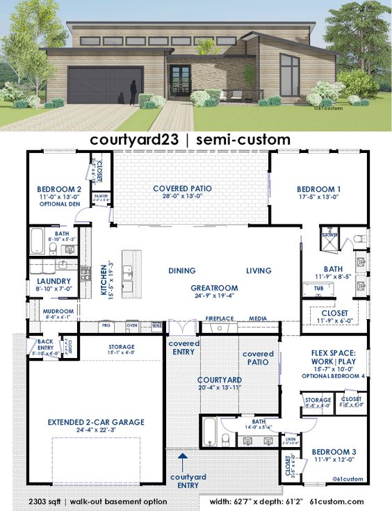 House Plans Huge Kitchen And Courtyards On Pinterest