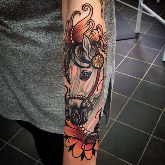 Neo traditional horse tattoo artwork by kat abdy for Horse tattoo traditional