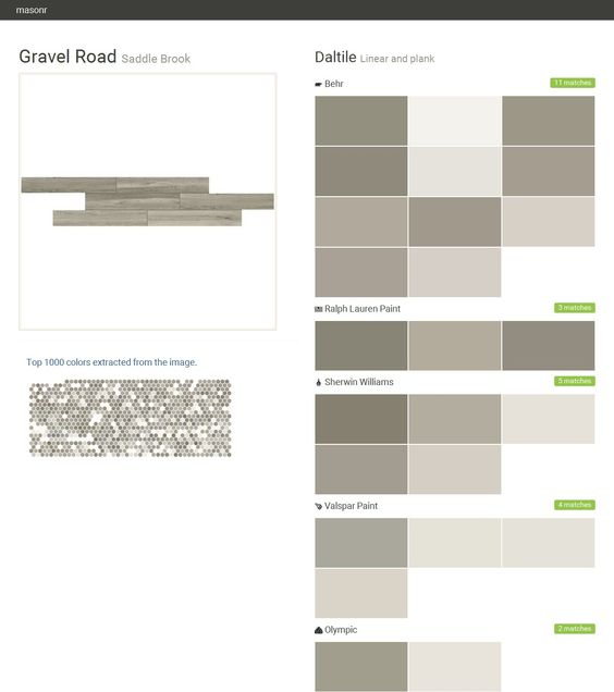 Gravel Road. Saddle Brook. Linear and plank. Daltile. Behr. Ralph Lauren Paint. Sherwin Williams. Valspar Paint. Olympic.  Click the gray Visit button to see the matching paint names.
