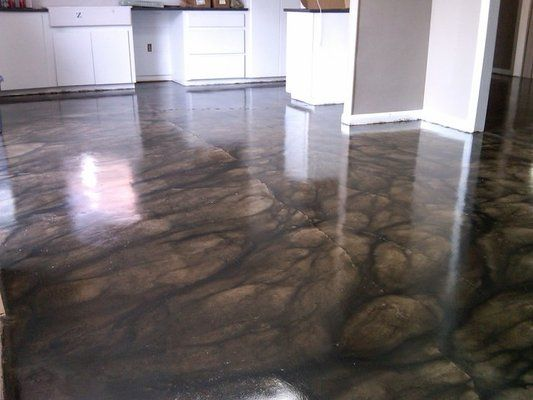 Love the pattern on this stained concrete floor but with a for Removing stains from concrete garage floor