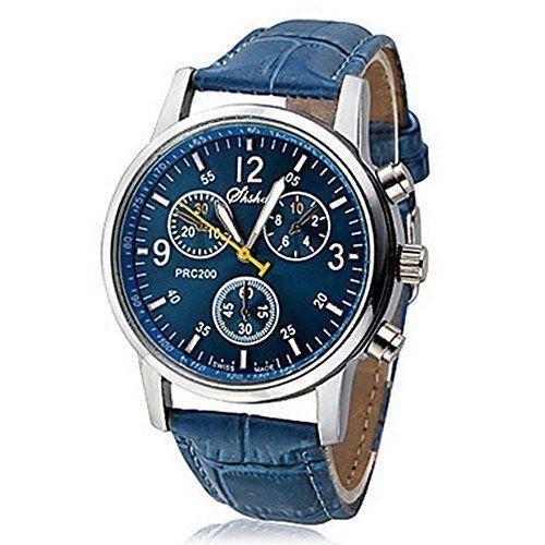 Herren: lässig modisch Freizeit-PU-Leder Analog Quarz-Armbanduhr Blau