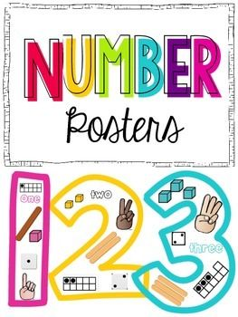 Number Posters {1-10} Black and white and colored versions | Signs ...